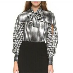 Yigal Azrouel Pussy Bow Neck Printed Cape Blouse